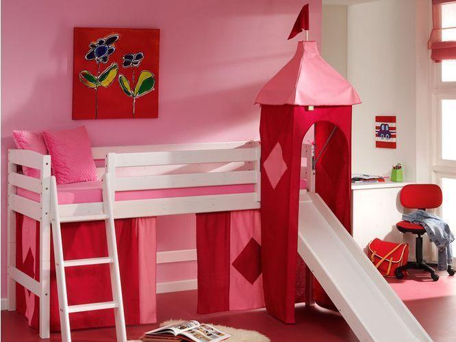 Cama semi alta fredy con tobogan camas y literas - Habitacion con literas para ninos ...
